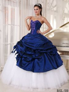 Navy Blue and White Ball Gown Sweet Sixteen Dress with Pick-ups