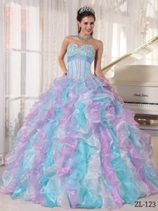 Colorful Sweetheart Organza Quinceanera Party Dress with Ruffles