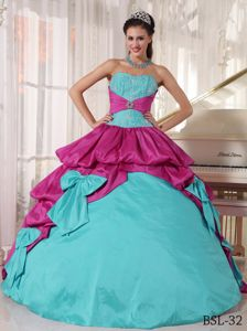Beautiful Fuchsia and Aqua Blue Dresses for Quince with Bowknot