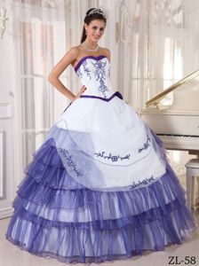 Ball Gown Embroidery Sweetheart Quinceanera Dress with Ruffles