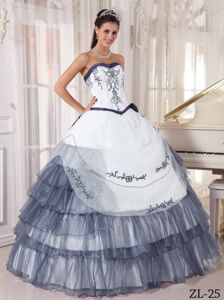 White and Gray Organza Embroidery Dress for Sweet 15 Discount