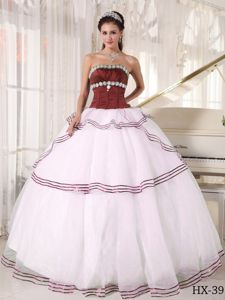 Formal Strapless Beading Dress for Quince in Burgundy and White