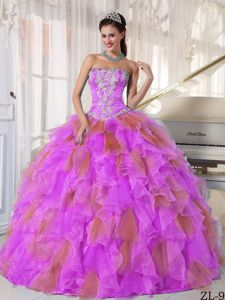 Two-toned Ball Gown Appliques Sweet Sixteen Dresses with Ruffles