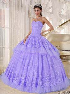 Lilac Sweetheart Appliques Ruffles Quinceanera Gown Dress in Style