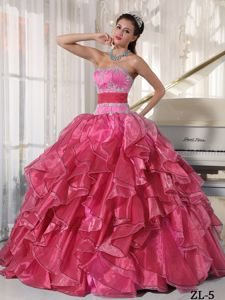 Vintage Beading Bodice Organza Quinceanera Dresses with Ruffles
