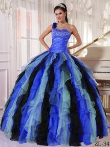 Multi-colored Ruffles One Shoulder Sweet 15 Dresses with Beading