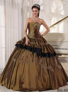 Sophisticated Appliques Brown Quinceanera Party Dress in Taffeta