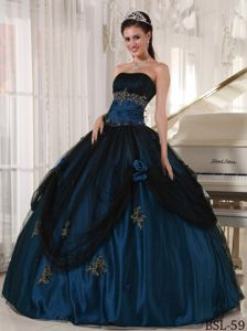 Tulle and Taffeta Appliques Strapless Sweet Fifteen Dress in Fashion