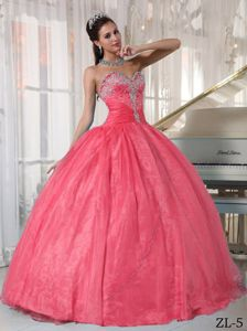 Classic Beaded Sweetheart Quinceanera Party Dress in Watermelon