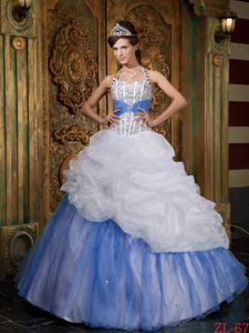 Affordable Halter Top Beading Quinceanera Dresses with Pick-ups
