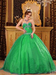 Cheap Organza Appliques Green Quinceanera Gowns with Beading