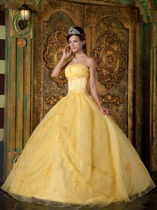 Yellow Organza Appliques Quinceanera Party Dress on Promotion