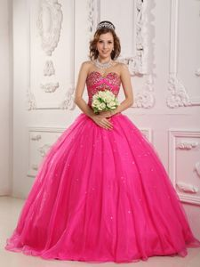Hot Pink Sweetheart Tulle Sweet 16 Dresses with Beading Hot Sale