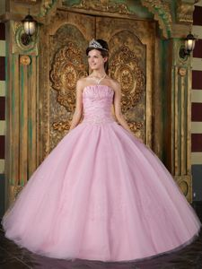Beading ruched Bodice Quinceanera Gowns Floor-length in Tulle