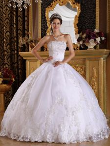 White Ball Gown Appliques Strapless Quinceanera Dresses in 2013