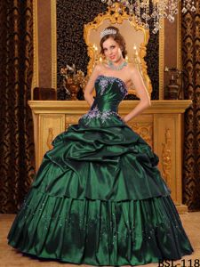 Remarkable Dark Green Pick-ups Dresses for Quince with Beading