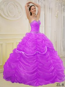 Traditional Beading Sweetheart Dresses for a Quince with Pick-ups