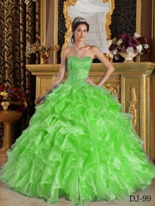Newest Organza Spring Green Sweet 16 Dresses with Ruffled Layers