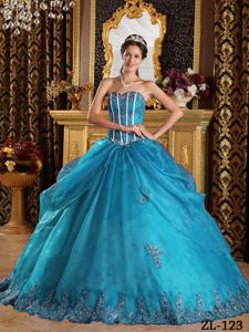 Customize Teal Organza Appliques Quinces Dresses with Beading