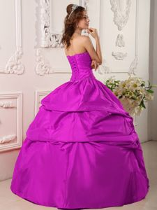 Exclusive Ball Gown Beaded Taffeta Dress for Sweet 15 in Fuchsia