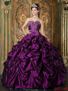Purple Pick-ups Appliques Dresses for a Quinceanera on Discount