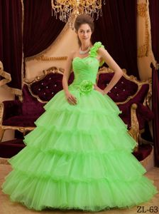 Multi-tiered One Shoulder Beading Quinceanera Dresses with Ruche