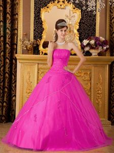 Popular Hot Pink Quinceanera Gowns with Appliques and Beading
