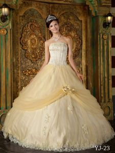 Inexpensive Strapless Tulle Sweet Sixteen Dresses with Appliques