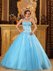 Aqua Blue Appliques Beading Sweetheart Dress for Quince in Tulle