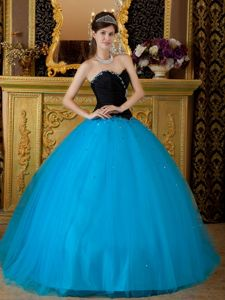 Black and Blue Tulle Beading Sweetheart Quinces Dresses Hot Sale