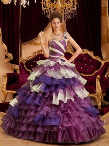 Colorful One Shoulder Beaded Sweet 15 Dress with Ruffled Layers