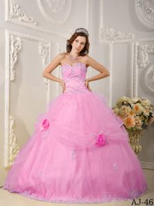 Wholesale Appliques Sweet Sixteen Dress with Hand Made Flowers