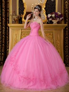 Rose Pink Sweetheart Beading Appliques Ball Gown Dress for Quince