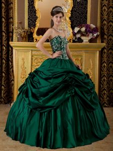 Dark Green Strapless Appliques Pick-ups Dresses for a Quinceanera