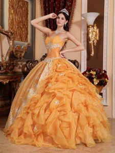 Orange Sweetheart Quinceanera Dresses with Ruffles and Appliques