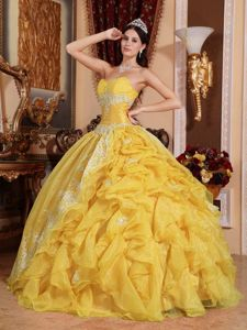Chic Yellow Strapless Beading Appliques Ruffled Quinceanera Dress