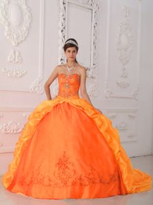 Orange Sweetheart Appliques Beading Pick-ups Taffeta Quinces Dress