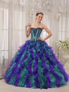 Multi-colored Sweetheart Appliques and Ruffles Dress for Sweet 15