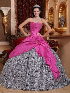 Hot Pink Beading Taffeta Dress for Sweet 15 with Zebra Silhouette