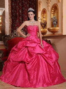 Rose Red Strapless Beading Appliques Pick-ups Sweet 16 Dresses