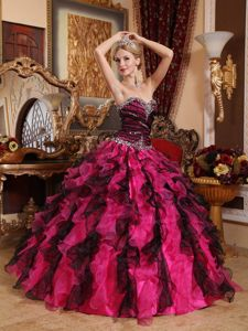 Elegant Black and Red Sweetheart Ruffled Beading Quinces Dresses