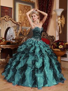 World Music Awards Multi-colored Beading Ruched Bust Sweet 15 Dresses with Ruffles