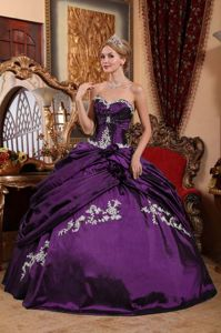 Eggplant Purple Sweetheart Hand Made Flowers Sweet Sixteen Dress