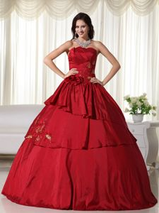 Wine Red Strapless Beading Tiered and Pleated Sweet Sixteen Dresses