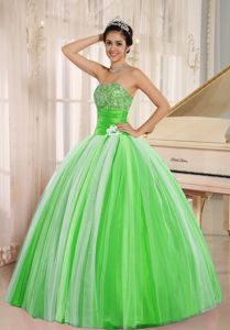 Multi-colored Strapless Beading Ruches and Pleats Sweet 15 Dresses