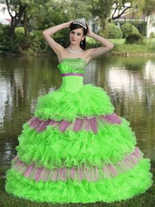 Lovely Beading Strapless Multi-tiered and Ruffled Quinceanera Gowns for Miss World