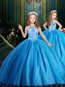 Halter Top Baby Blue Ball Gowns Beading and Sequins Kids Pageant Dress Lace Up Tulle Sleeveless Floor Length