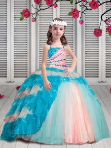 Discount Spaghetti Straps Sleeveless Organza Little Girls Pageant Gowns Beading and Ruffles Lace Up