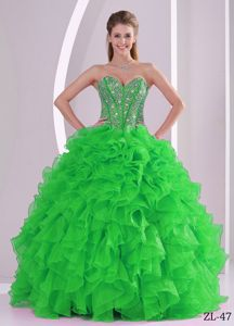 Pretty Spring Green Ruffled Layers Sweet 15 Dresses with Beading