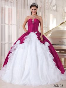 Delish Fuchsia and White Dress for Quince with Beading and Ruffle